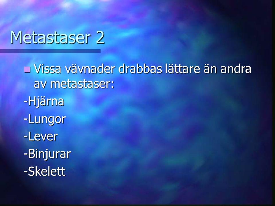 Metastaser 2 Vissa vävnader drabbas lättare än andra av metastaser: