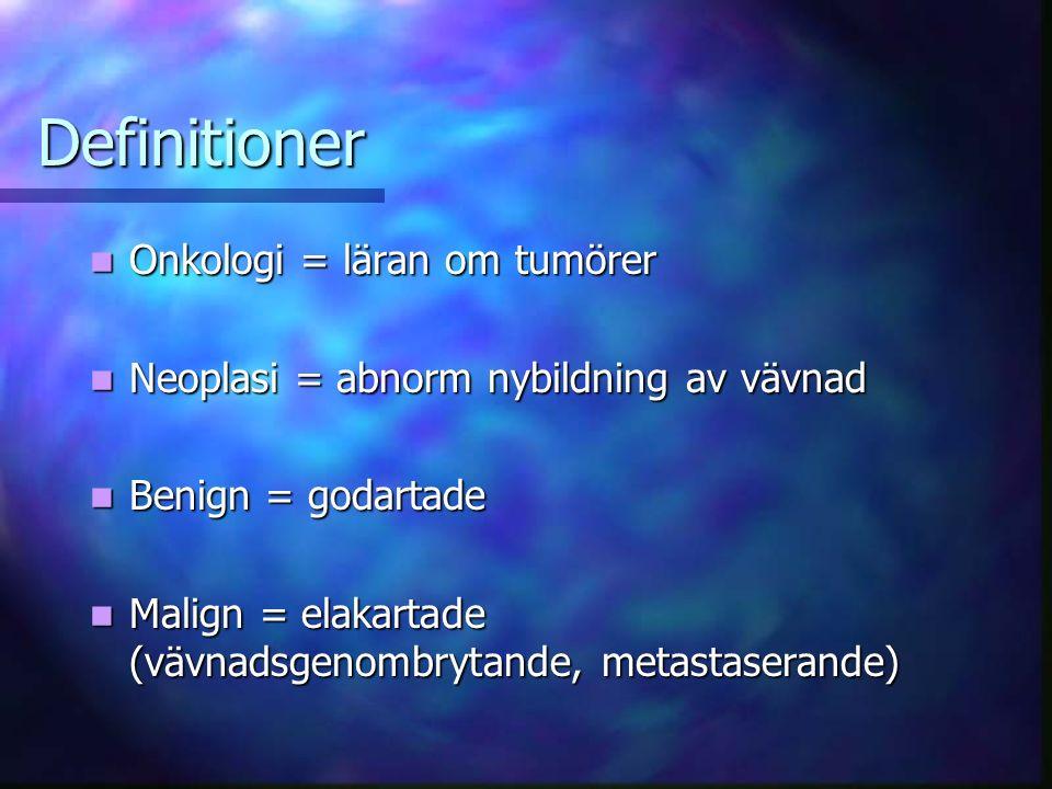 Definitioner Onkologi = läran om tumörer