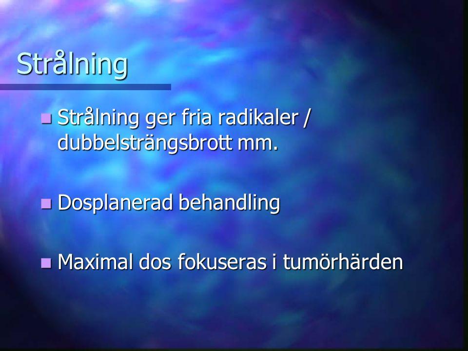 Strålning Strålning ger fria radikaler / dubbelsträngsbrott mm.