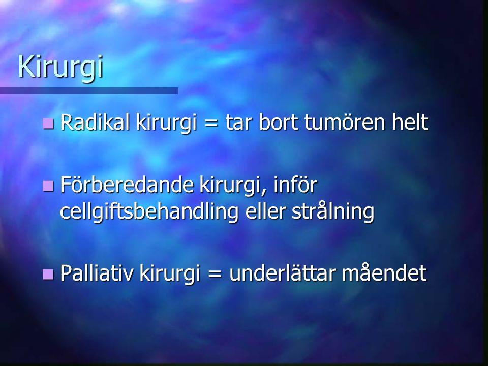 Kirurgi Radikal kirurgi = tar bort tumören helt