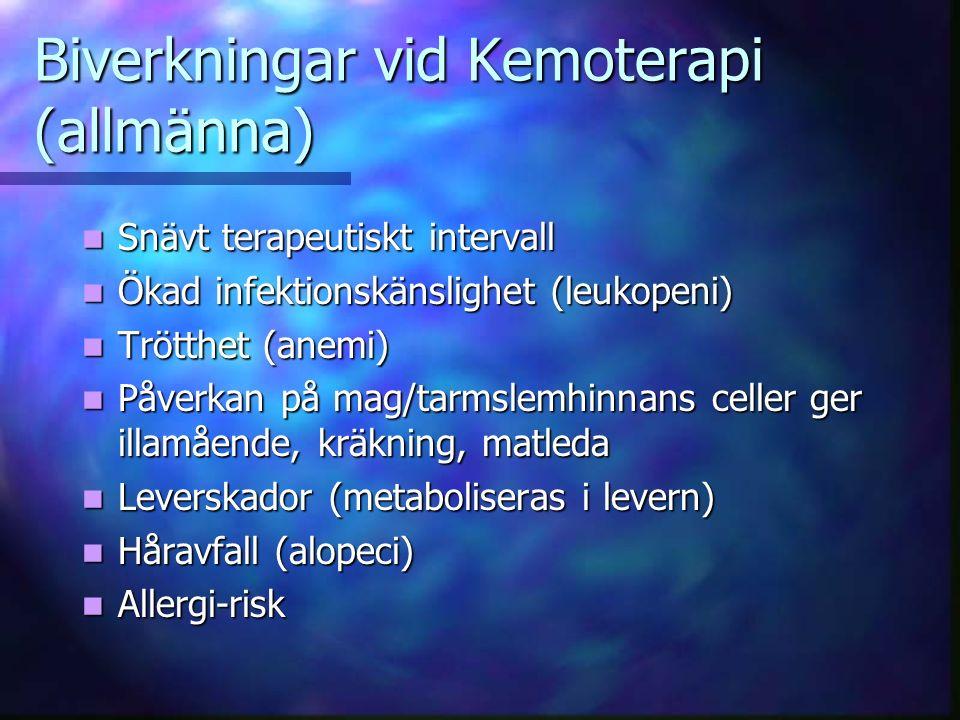 Biverkningar vid Kemoterapi (allmänna)