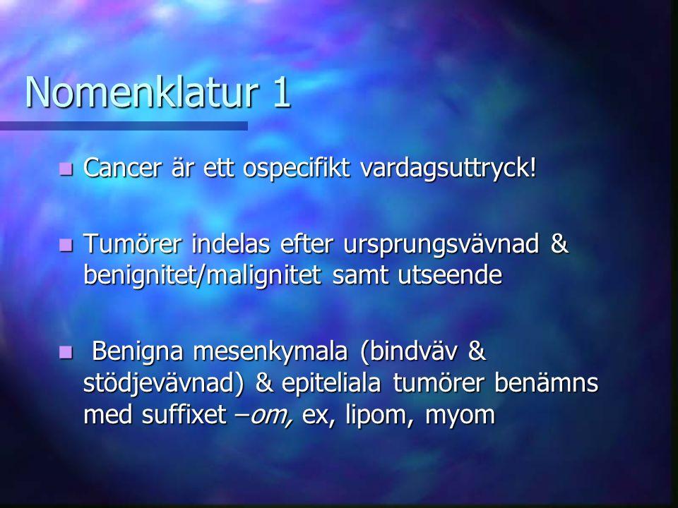 Nomenklatur 1 Cancer är ett ospecifikt vardagsuttryck!