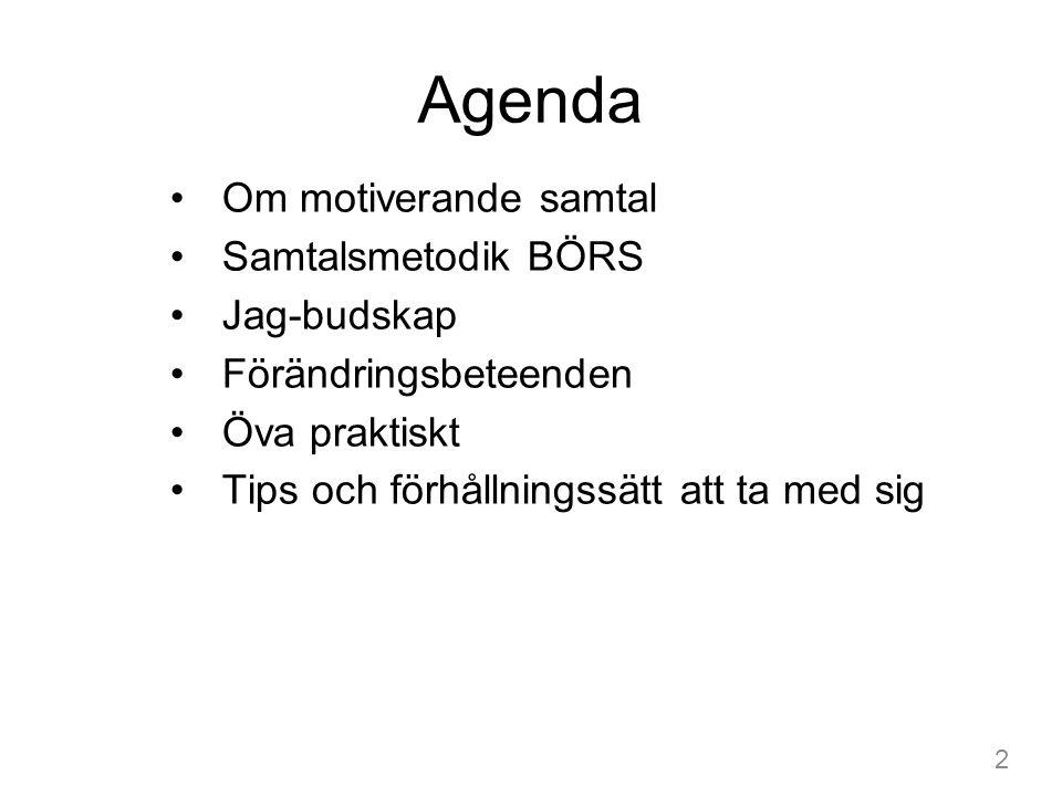 Agenda Om motiverande samtal Samtalsmetodik BÖRS Jag-budskap