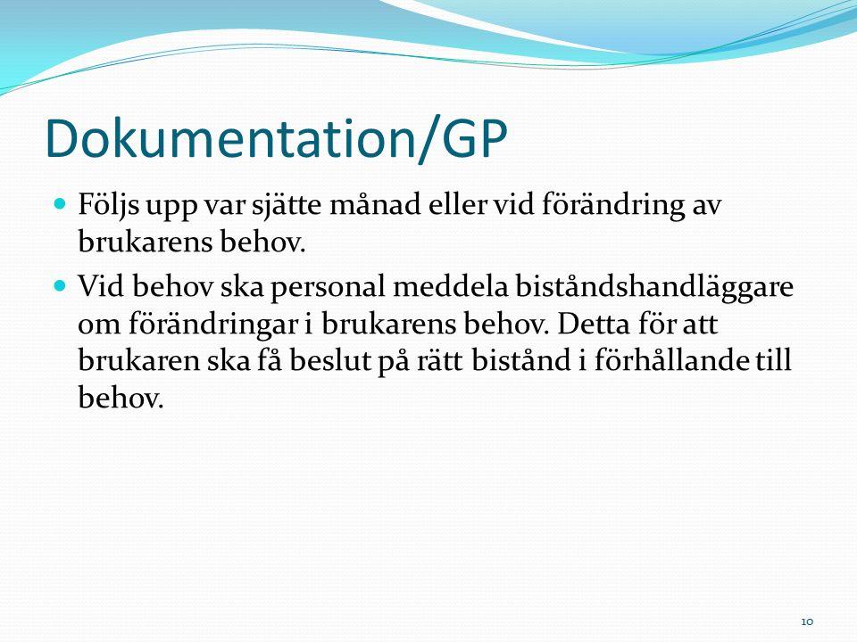 Dokumentation/GP Följs upp var sjätte månad eller vid förändring av brukarens behov.