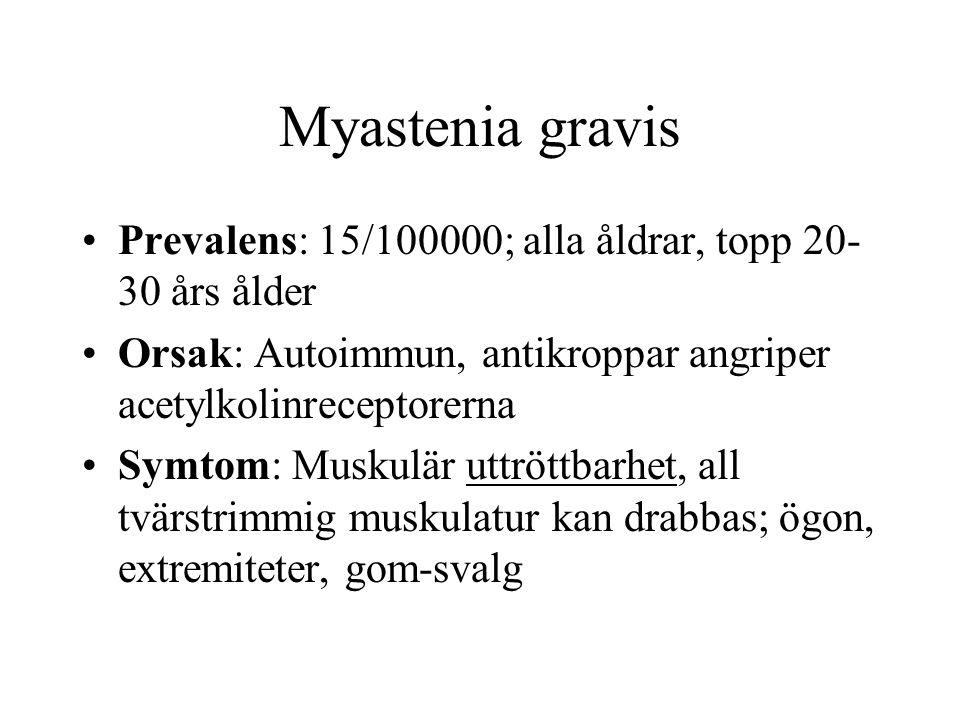 Myastenia gravis Prevalens: 15/100000; alla åldrar, topp 20-30 års ålder. Orsak: Autoimmun, antikroppar angriper acetylkolinreceptorerna.