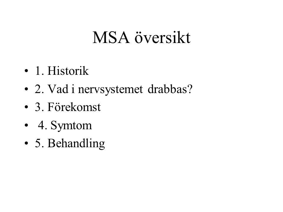 MSA översikt 1. Historik 2. Vad i nervsystemet drabbas 3. Förekomst