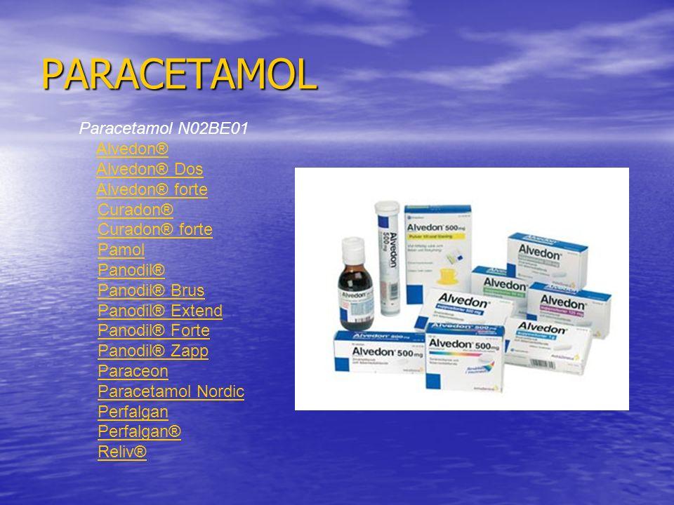 PARACETAMOL Paracetamol N02BE01 Alvedon® Alvedon® Dos Alvedon® forte