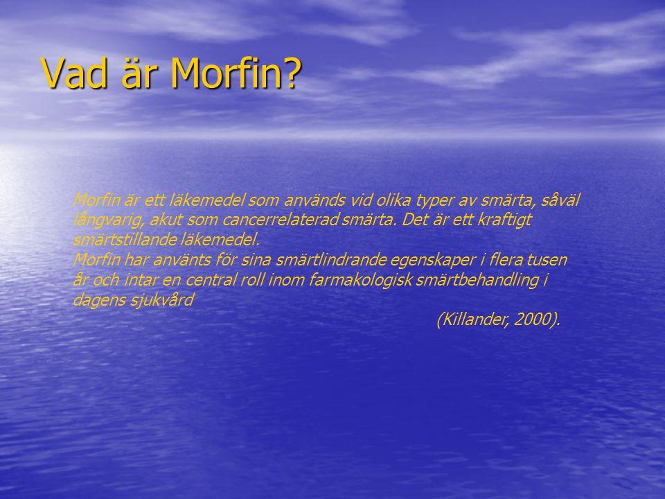 Vad är Morfin Morfin är ett läkemedel som används vid olika typer av smärta, såväl.