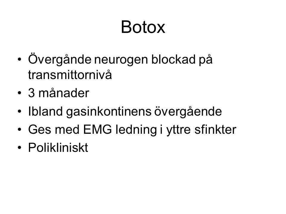 Botox Övergånde neurogen blockad på transmittornivå 3 månader