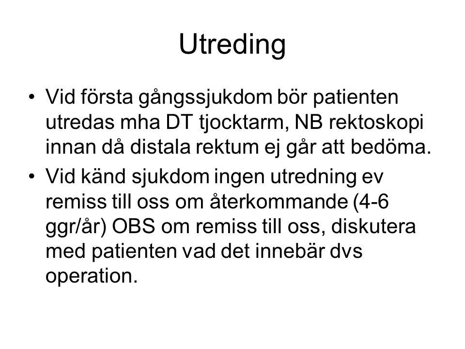 Utreding Vid första gångssjukdom bör patienten utredas mha DT tjocktarm, NB rektoskopi innan då distala rektum ej går att bedöma.