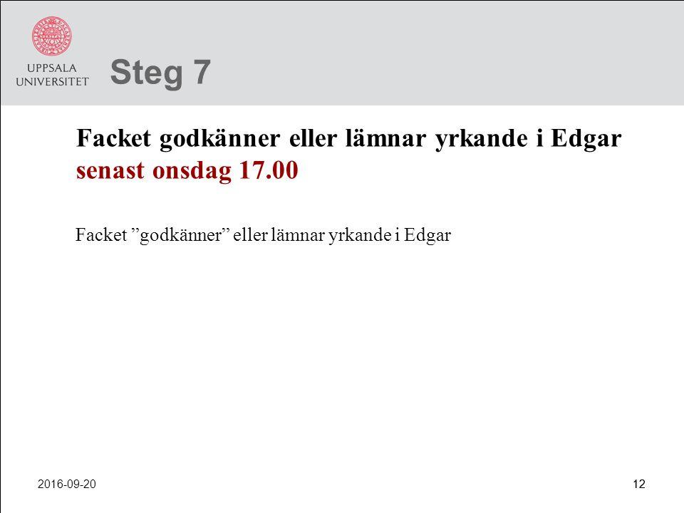 Steg 7 Facket godkänner eller lämnar yrkande i Edgar