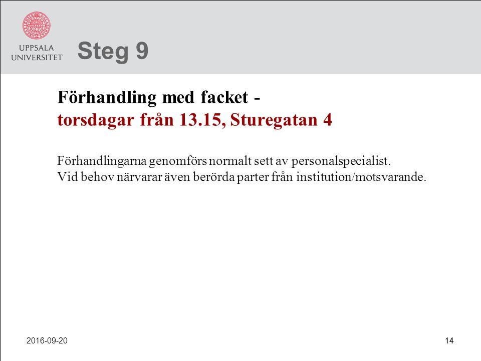 Steg 9 Förhandling med facket - torsdagar från 13.15, Sturegatan 4.