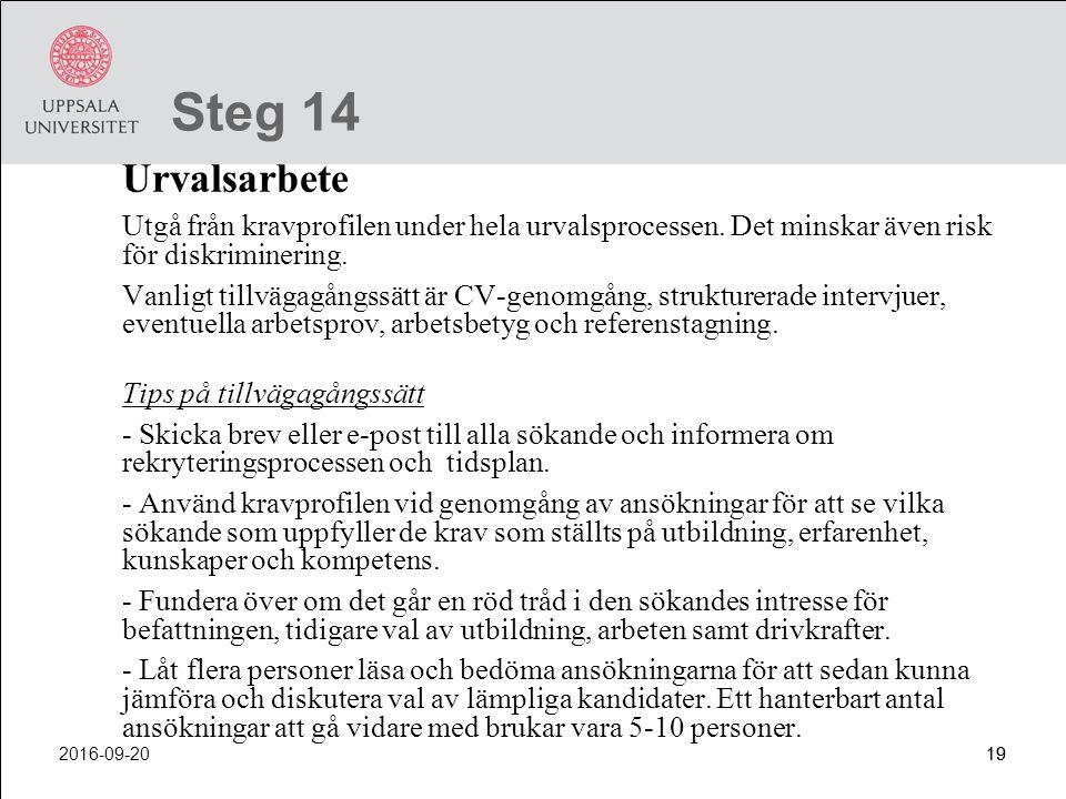Steg 14 Urvalsarbete. Utgå från kravprofilen under hela urvalsprocessen. Det minskar även risk för diskriminering.