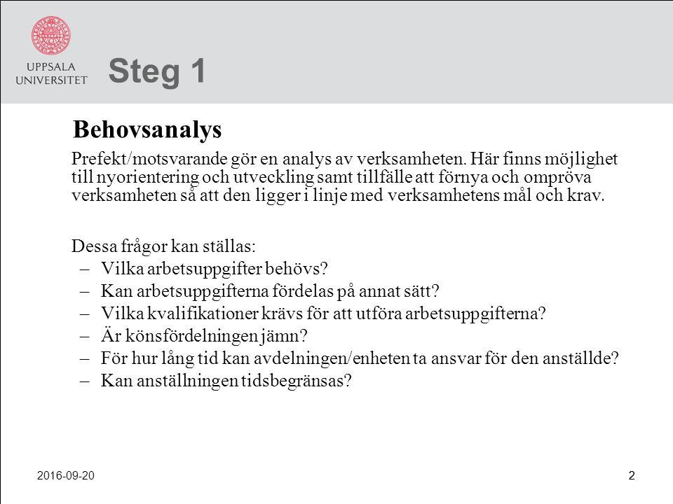 Steg 1 Behovsanalys.