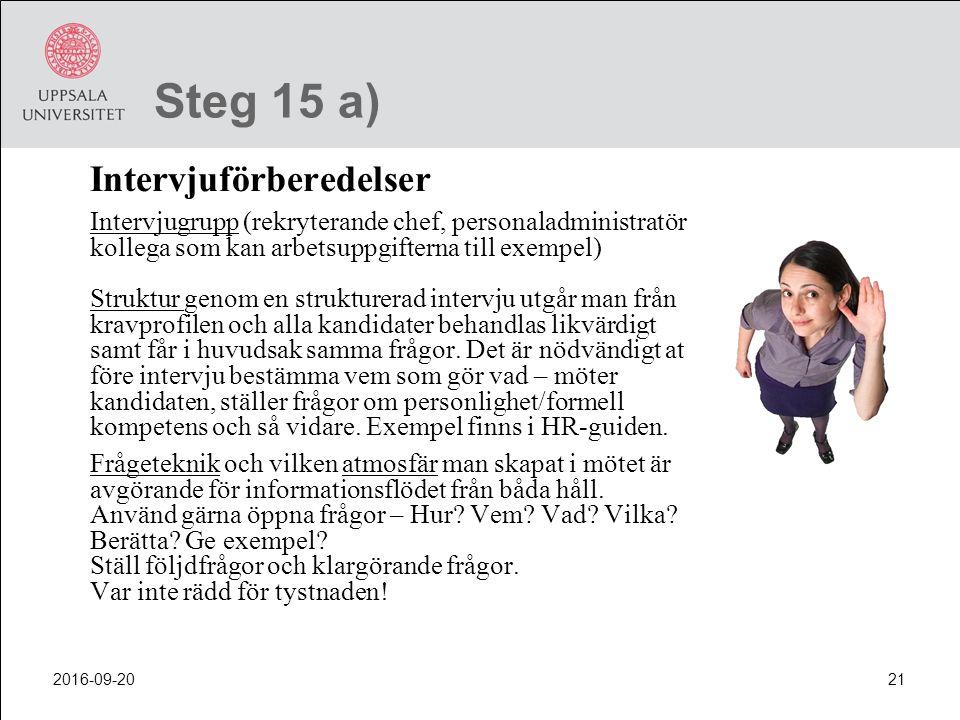 Steg 15 a) Intervjuförberedelser.