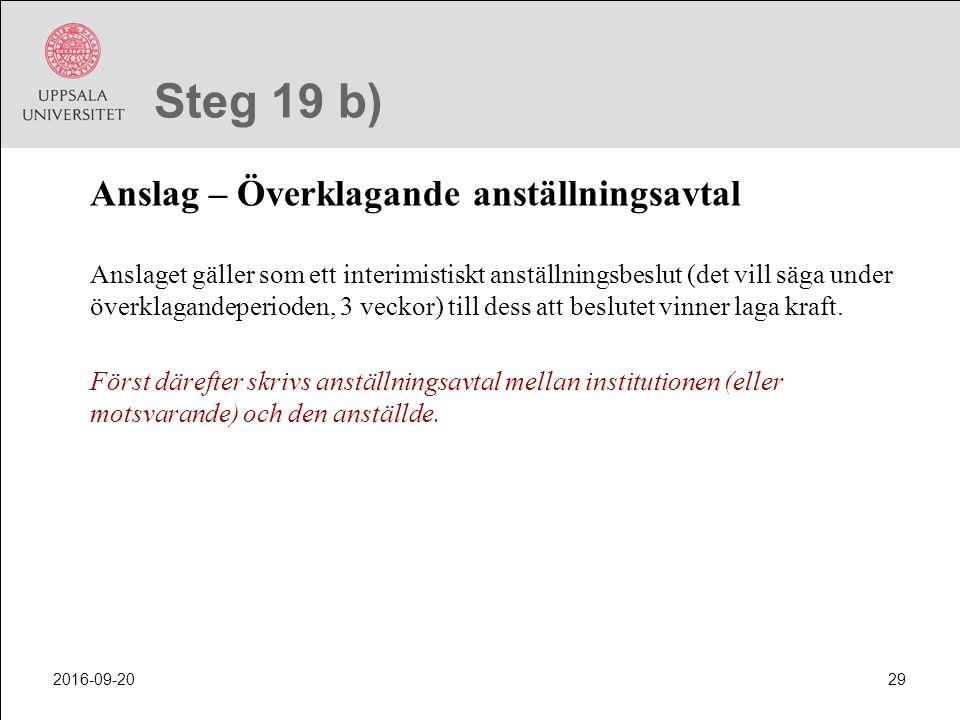 Steg 19 b) Anslag – Överklagande anställningsavtal