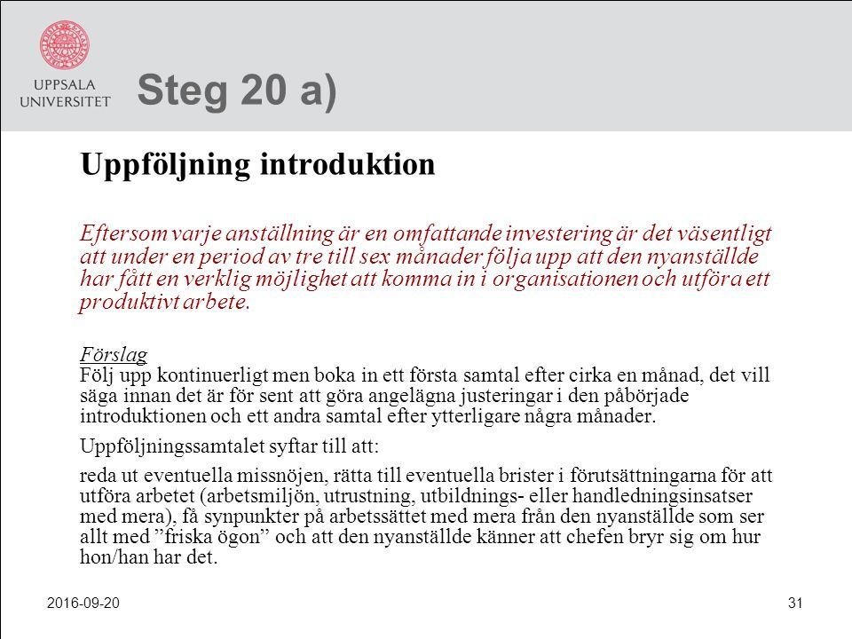 Steg 20 a) Uppföljning introduktion