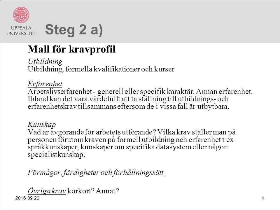 Steg 2 a) Mall för kravprofil