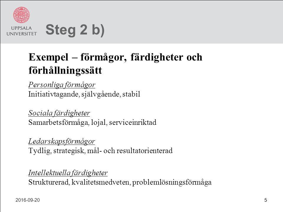 Steg 2 b) Exempel – förmågor, färdigheter och förhållningssätt
