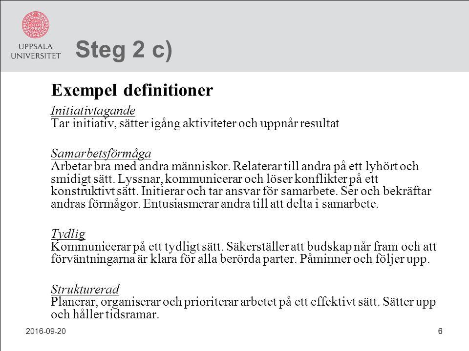 Steg 2 c) Exempel definitioner