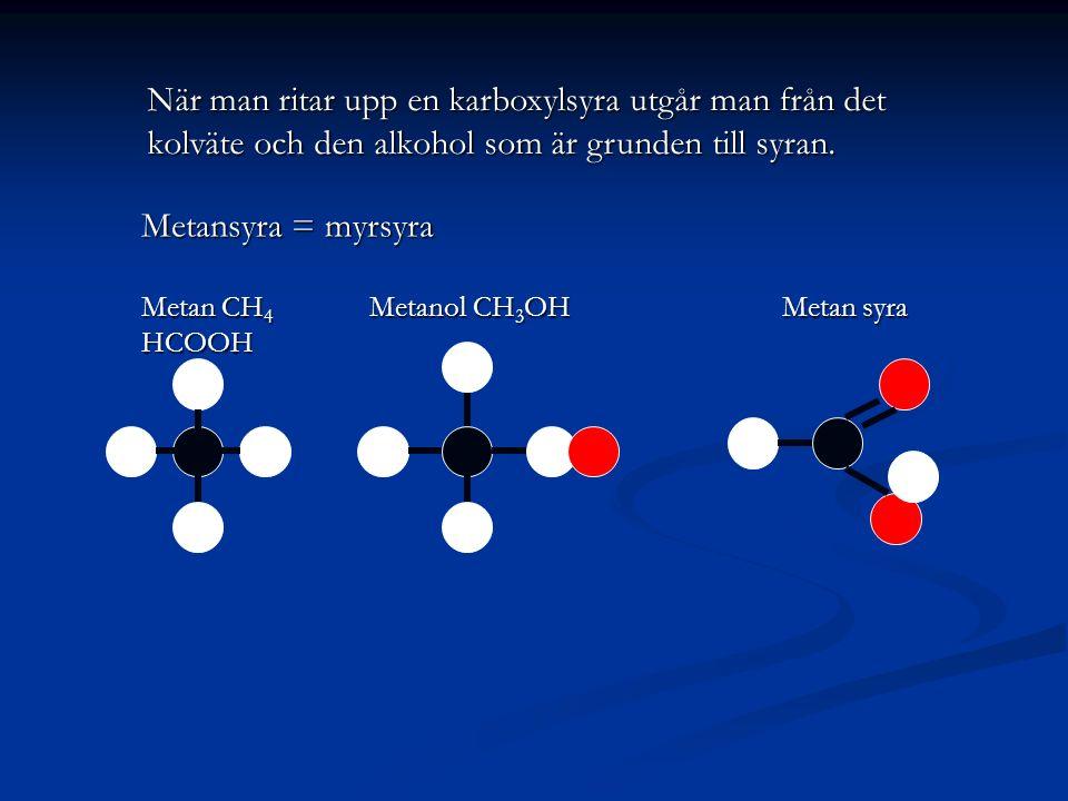 När man ritar upp en karboxylsyra utgår man från det kolväte och den alkohol som är grunden till syran.
