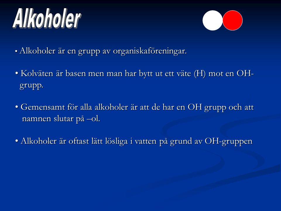 Alkoholer Alkoholer är en grupp av organiskaföreningar. Kolväten är basen men man har bytt ut ett väte (H) mot en OH-