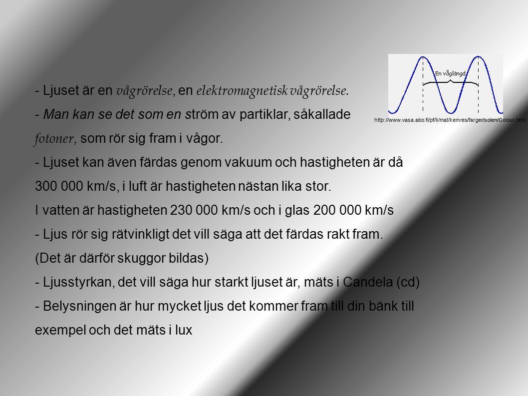 Ljuset är en vågrörelse, en elektromagnetisk vågrörelse.