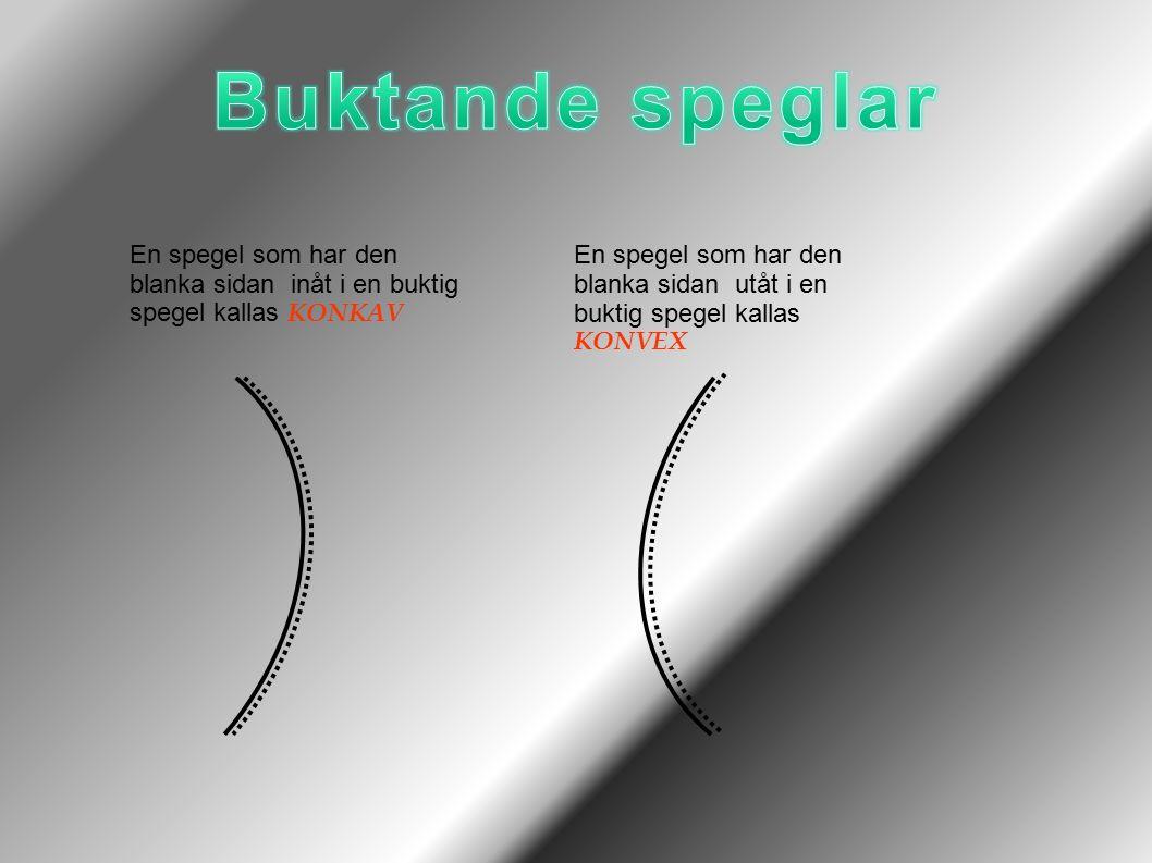 Buktande speglar En spegel som har den blanka sidan inåt i en buktig spegel kallas KONKAV.