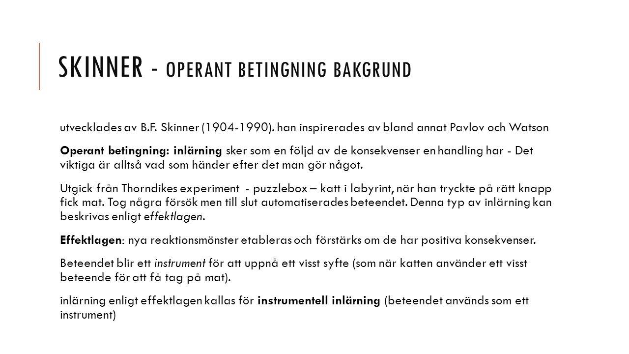 Skinner - Operant betingning bakgrund