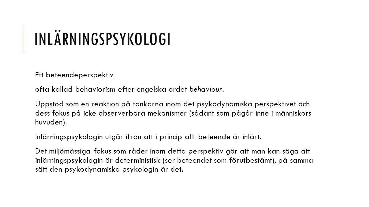 Inlärningspsykologi Ett beteendeperspektiv