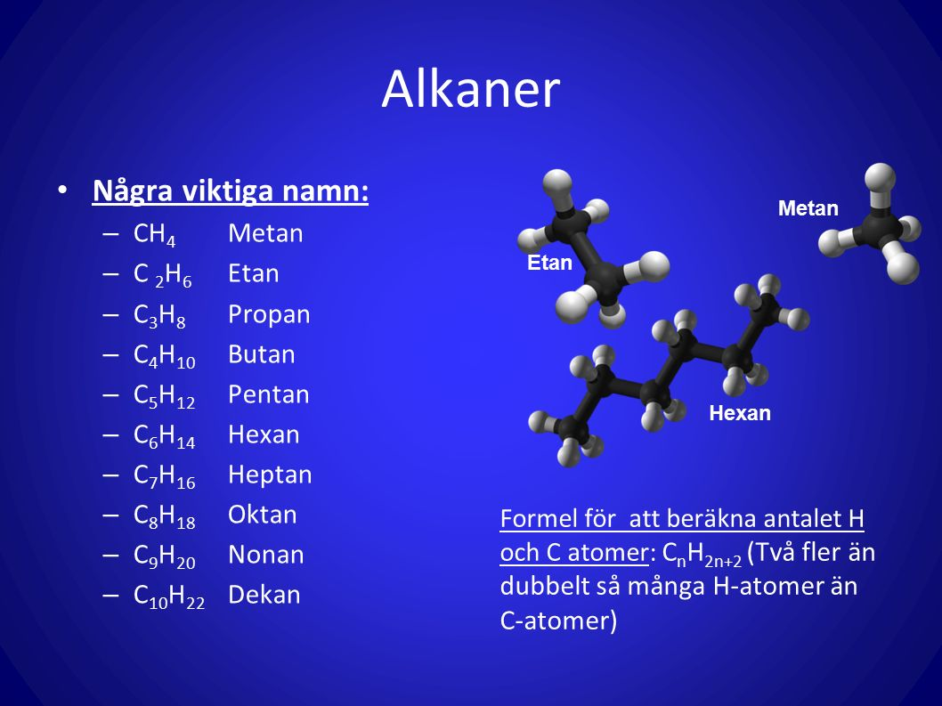 Alkaner Några viktiga namn: CH4 Metan C 2H6 Etan C3H8 Propan