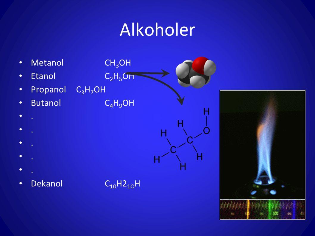 Alkoholer Metanol CH3OH Etanol C2H5OH Propanol C3H7OH Butanol C4H9OH .