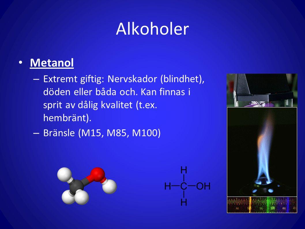 Alkoholer Metanol. Extremt giftig: Nervskador (blindhet), döden eller båda och. Kan finnas i sprit av dålig kvalitet (t.ex. hembränt).
