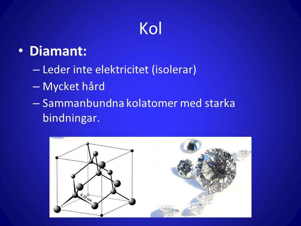 Kol Diamant: Leder inte elektricitet (isolerar) Mycket hård