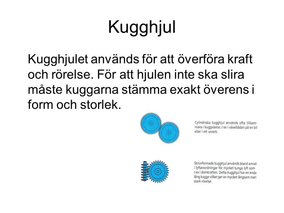 Kugghjul Kugghjulet används för att överföra kraft och rörelse.