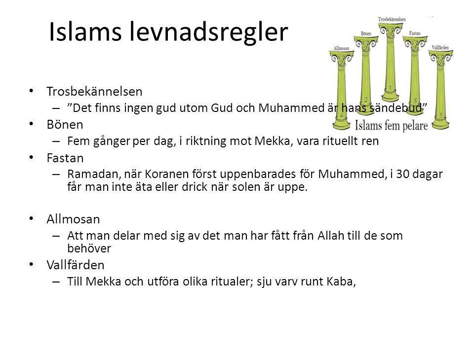 Islams levnadsregler Trosbekännelsen Bönen Fastan Allmosan Vallfärden