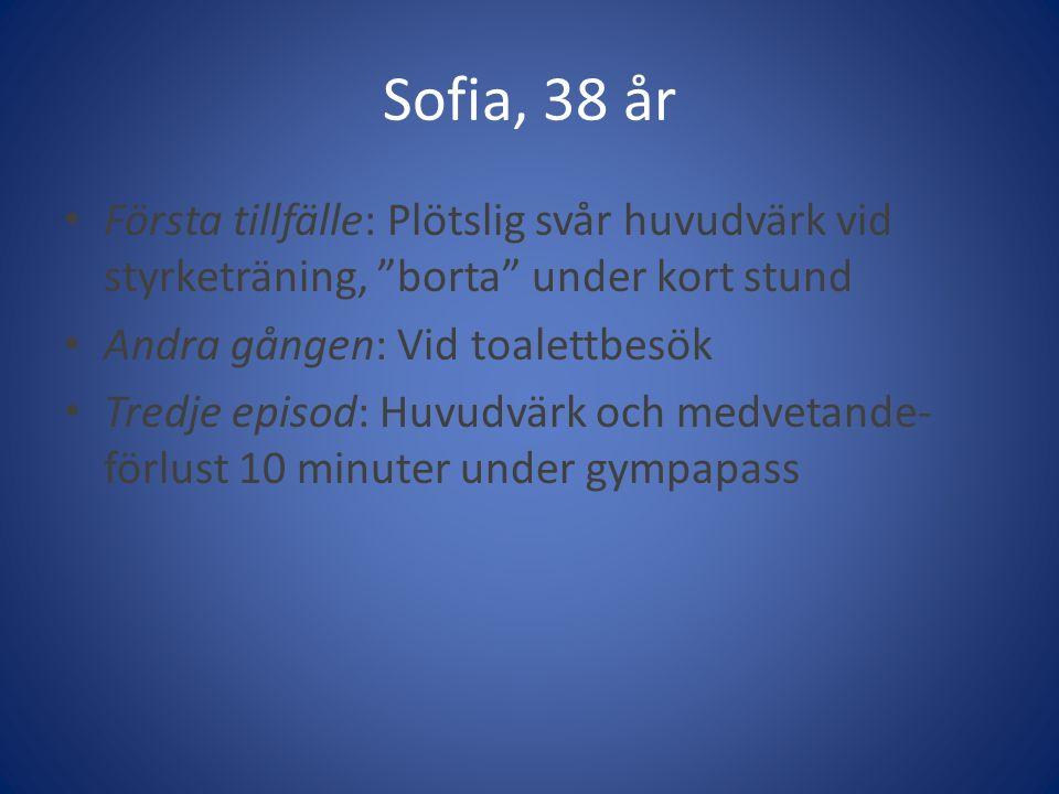 Sofia, 38 år Första tillfälle: Plötslig svår huvudvärk vid styrketräning, borta under kort stund.