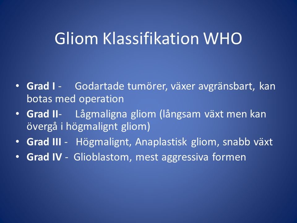 Gliom Klassifikation WHO
