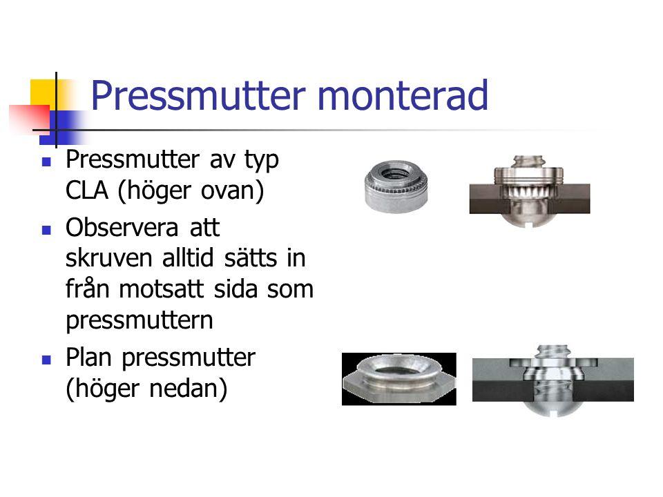 Pressmutter monterad Pressmutter av typ CLA (höger ovan)