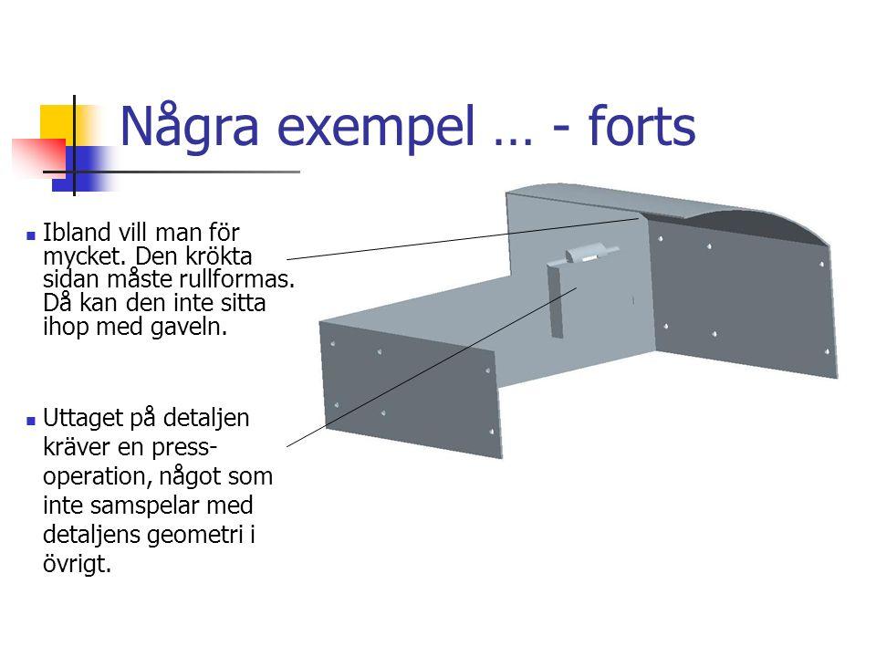 Några exempel … - forts Ibland vill man för mycket. Den krökta sidan måste rullformas. Då kan den inte sitta ihop med gaveln.