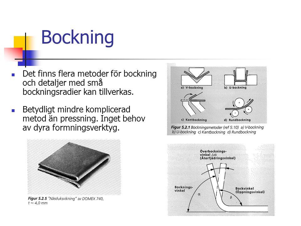 Bockning Det finns flera metoder för bockning och detaljer med små bockningsradier kan tillverkas.