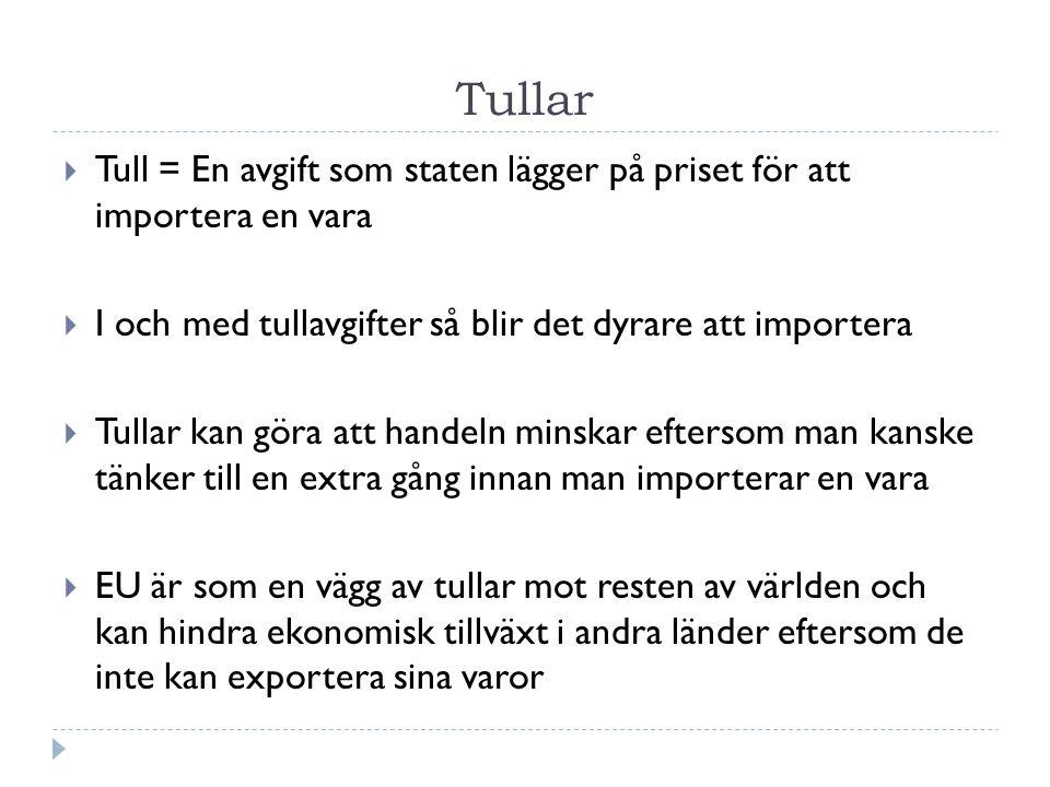 Tullar Tull = En avgift som staten lägger på priset för att importera en vara. I och med tullavgifter så blir det dyrare att importera.