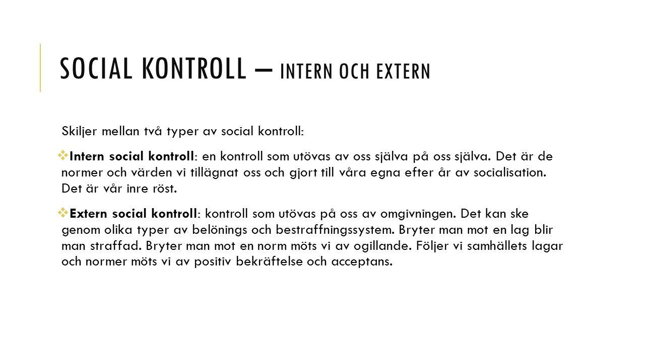 Social kontroll – intern och extern