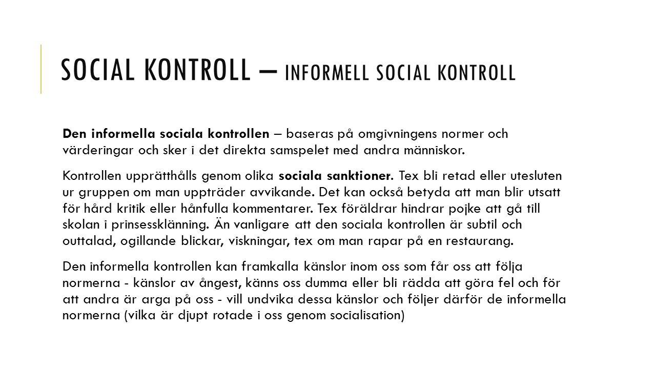 Social kontroll – informell social kontroll