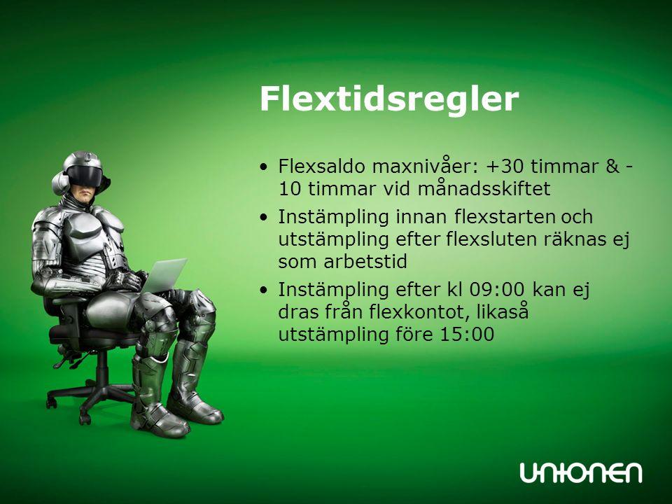 Flextidsregler Flexsaldo maxnivåer: +30 timmar & - 10 timmar vid månadsskiftet.