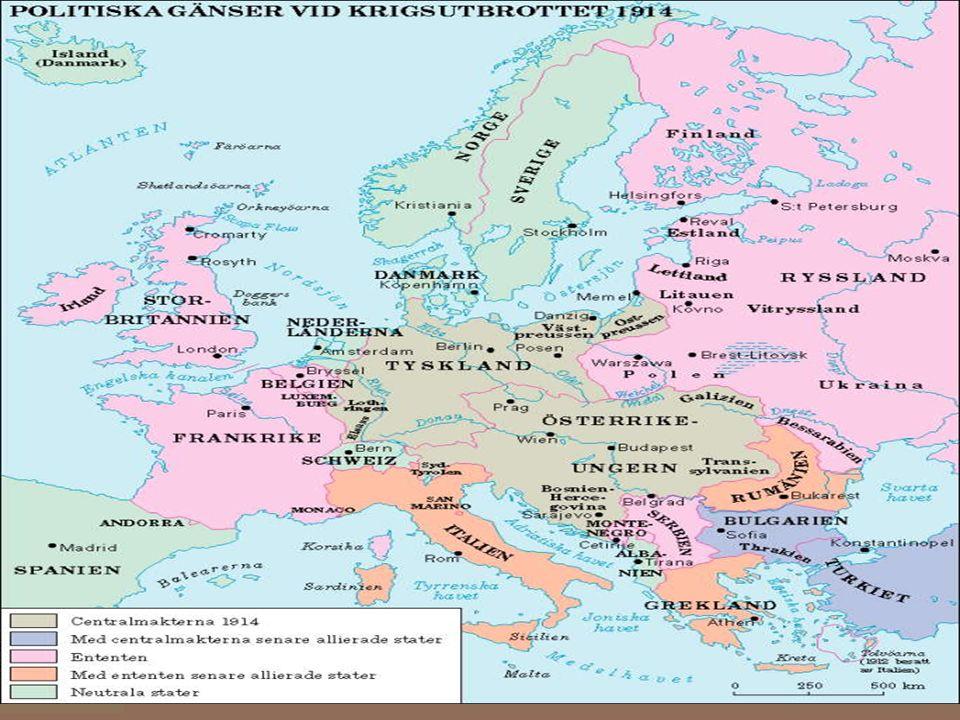 Orsaker till kriget I Europa rådde en maktkamp. Stormakterna var: