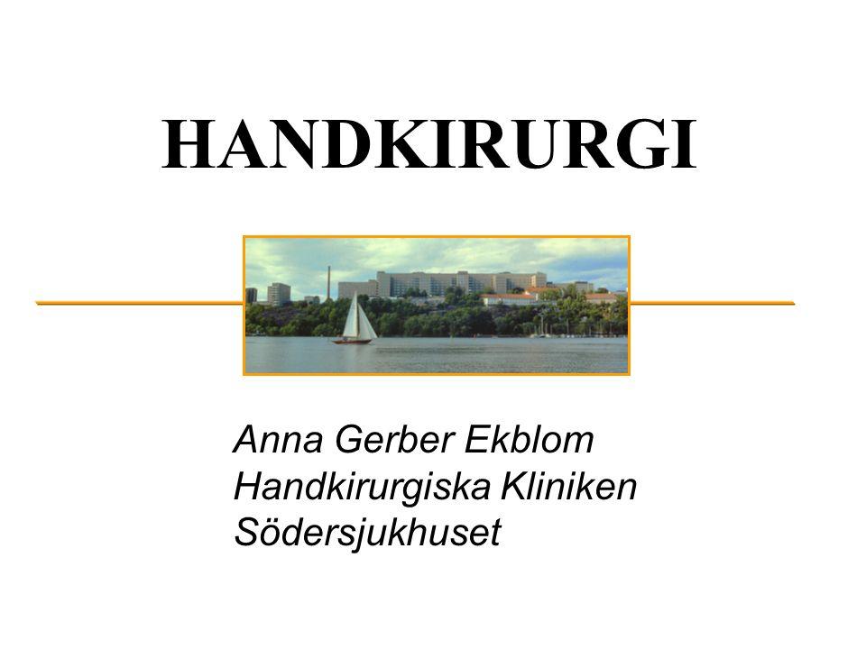 HANDKIRURGI Anna Gerber Ekblom Handkirurgiska Kliniken Södersjukhuset