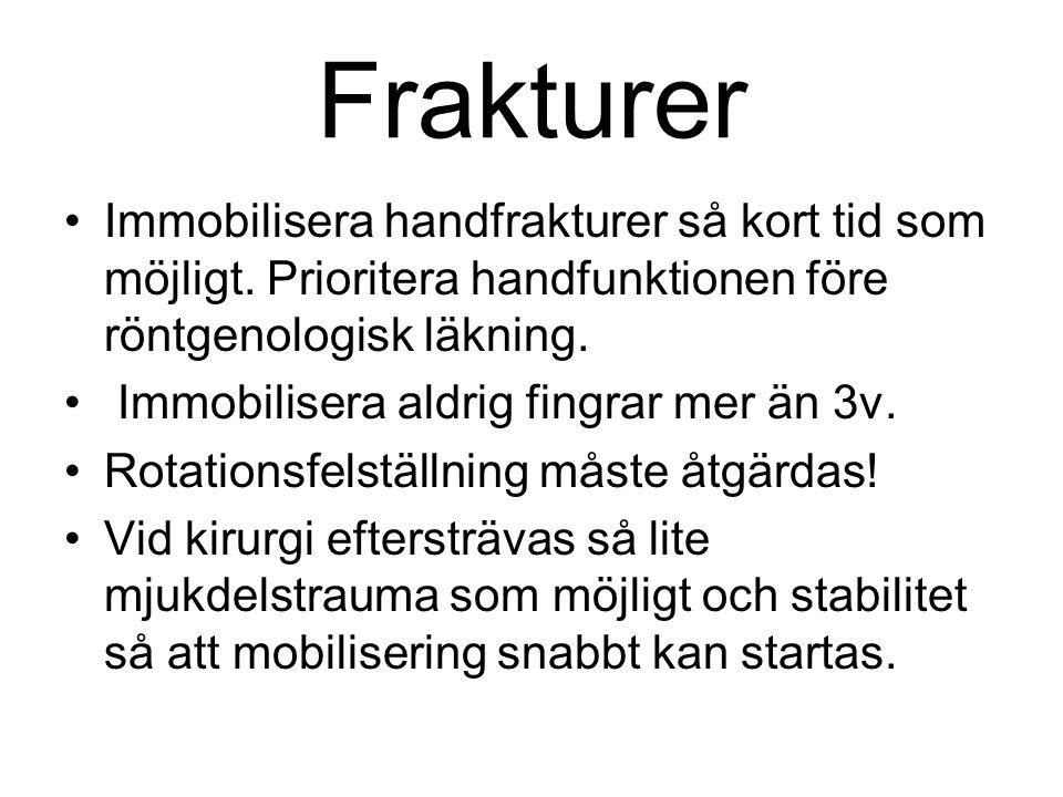 Frakturer Immobilisera handfrakturer så kort tid som möjligt. Prioritera handfunktionen före röntgenologisk läkning.