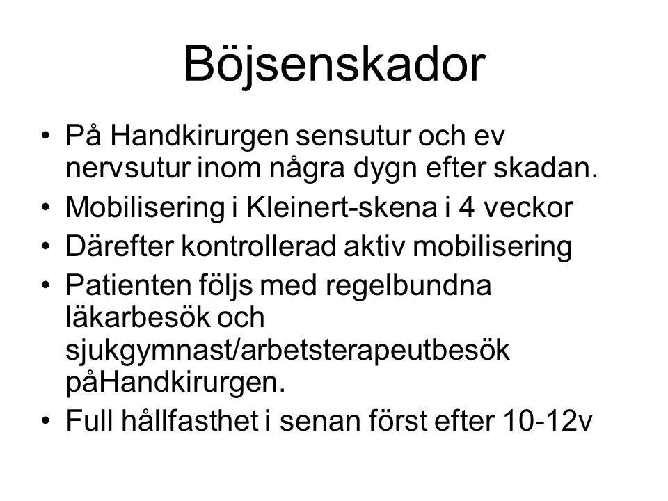 Böjsenskador På Handkirurgen sensutur och ev nervsutur inom några dygn efter skadan. Mobilisering i Kleinert-skena i 4 veckor.