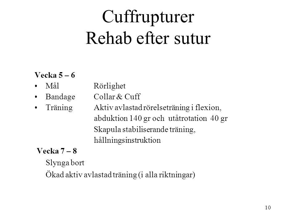 Cuffrupturer Rehab efter sutur